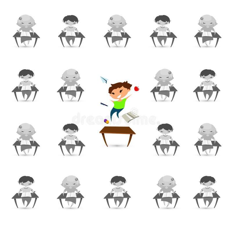 Problema del desorden de la hiperactividad del déficit de atención de los niños Vecto ilustración del vector