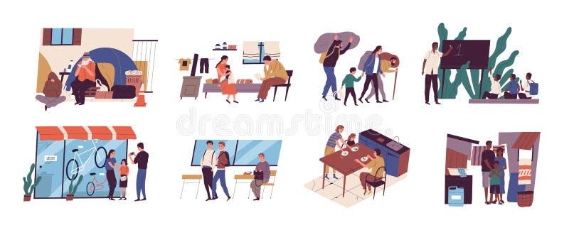 Problema di povertà e di diseguaglianza sociale Raccolta delle scene con il tipo senza tetto sulla via, famiglia dei rifugiati, b royalty illustrazione gratis