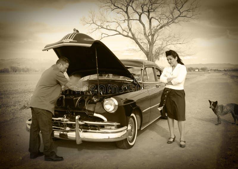 Problema do carro, problema da esposa imagens de stock