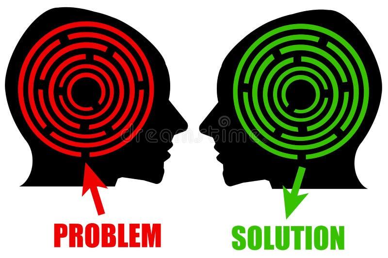 Problema e solução ilustração stock