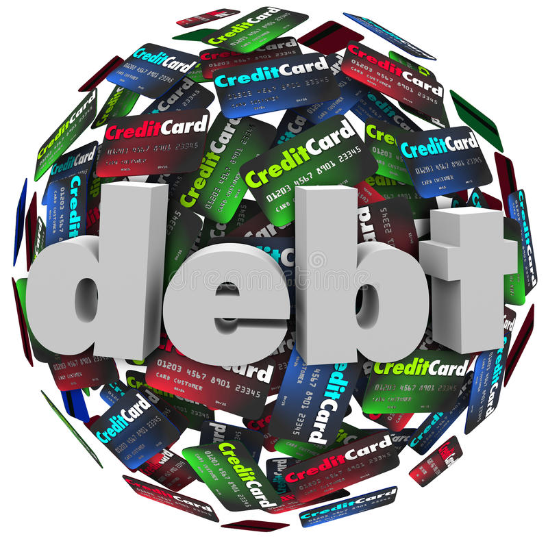 Problema fallimento dei soldi della palla della carta di credito di parola di debito illustrazione vettoriale