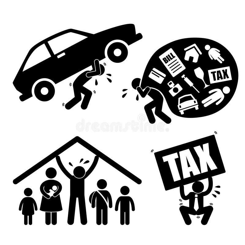 Problema finanziario della gente della famiglia dell'uomo illustrazione vettoriale