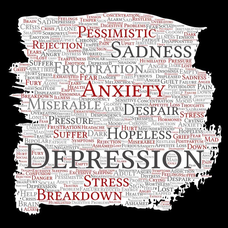 Problema mentale di disturbo psichico di depressione di vettore royalty illustrazione gratis