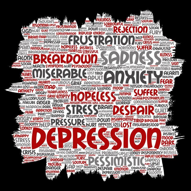 Problema mentale di disturbo psichico di depressione di vettore illustrazione di stock