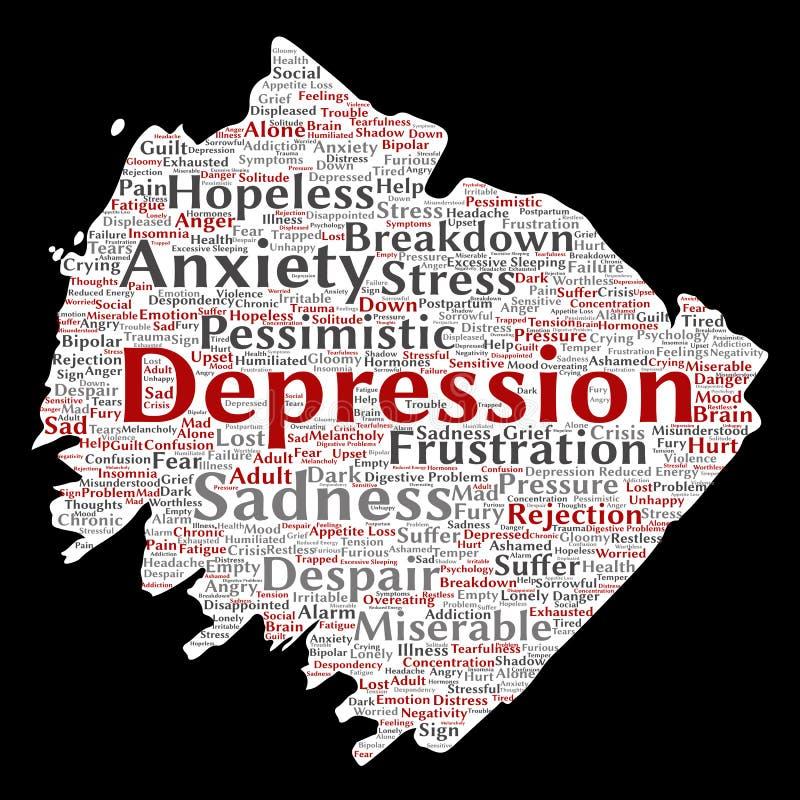 Problema mentale di disturbo psichico di depressione di vettore illustrazione vettoriale