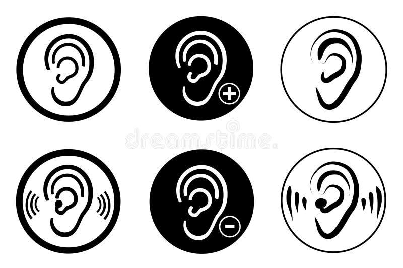 Problema sordo del audífono del oído ilustración del vector