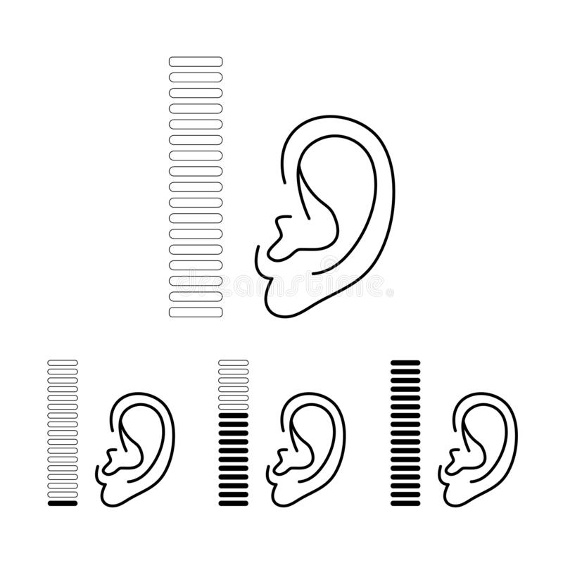 Problema surdo da prótese auditiva da orelha Jogo do ícone isolado no fundo branco Ilustração do vetor ilustração stock