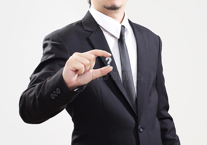 Problema temporario de la exhibición del hombre de negocios del negocio muy poco imagen de archivo