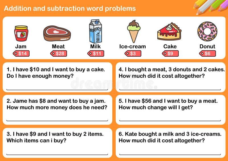 Problemas da palavra da adição e da subtração ilustração royalty free