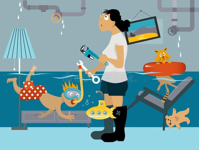 Problemas de la fontanería stock de ilustración