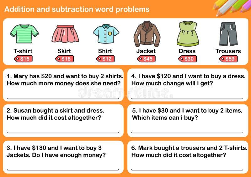 Problemas de la palabra de la adición y de la substracción stock de ilustración