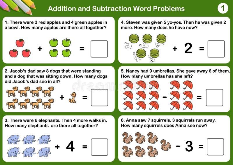 Problemas de la palabra de la adición y de la substracción libre illustration