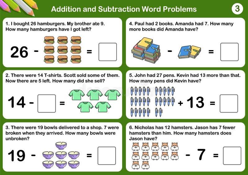 Problemas de la palabra de la adición y de la substracción ilustración del vector