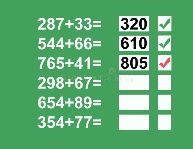Problemas de matemática ilustração royalty free