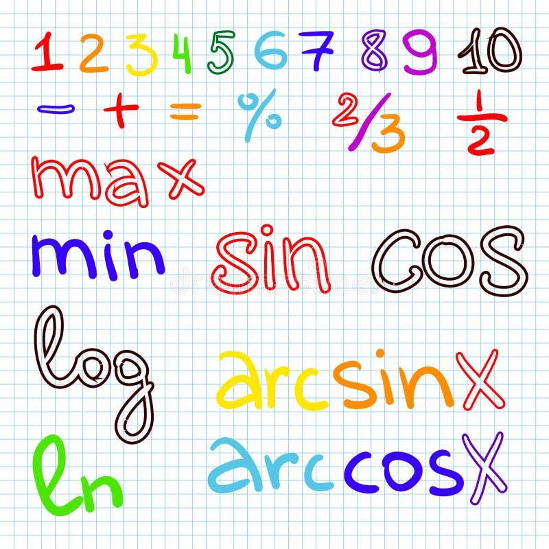 Problemas de matemática no papel de gráfico com lápis ilustração do vetor