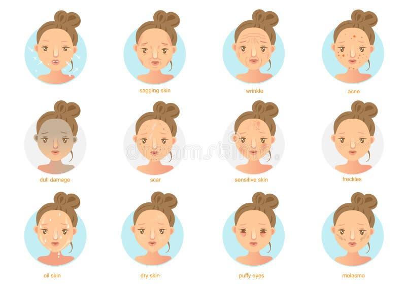problemas de piel stock de ilustración