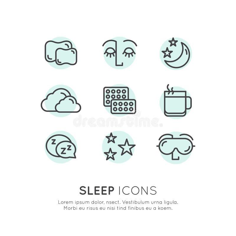 Problemas del sueño e iconos del insomnio ilustración del vector