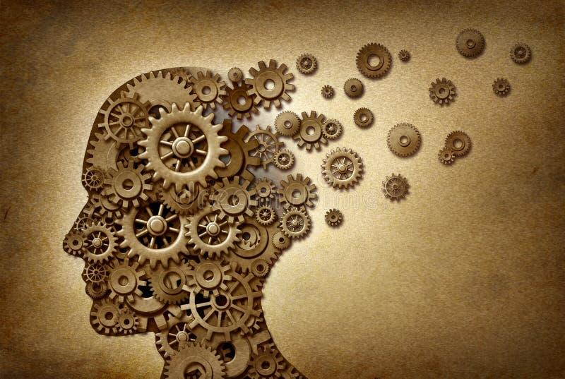 Problemas do cérebro da demência ilustração royalty free