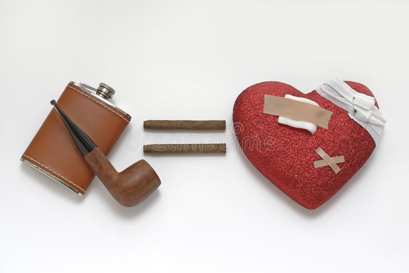 Problemas do coração resultando do álcool e do fumo foto de stock royalty free