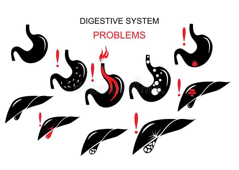 Problemas do sistema digestivo ilustração royalty free