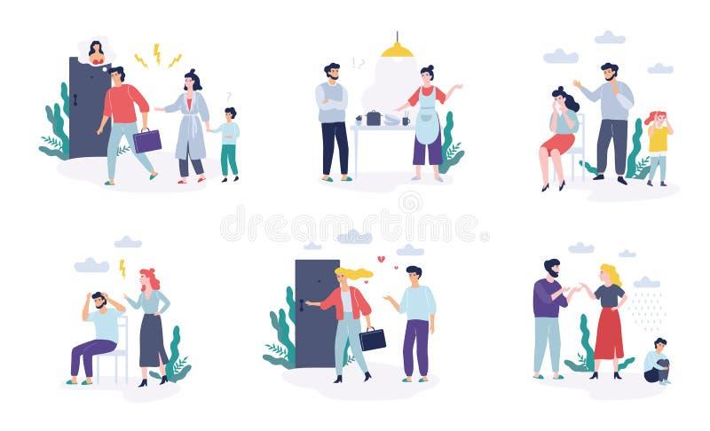 Problemas no grupo da família Discussão do pai e da mãe ilustração do vetor