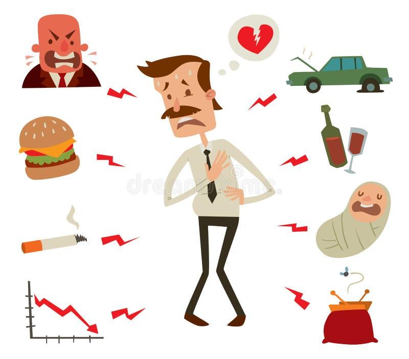 Problemas para hombre del corazón Factores de riesgo del hombre de negocios ilustración del vector