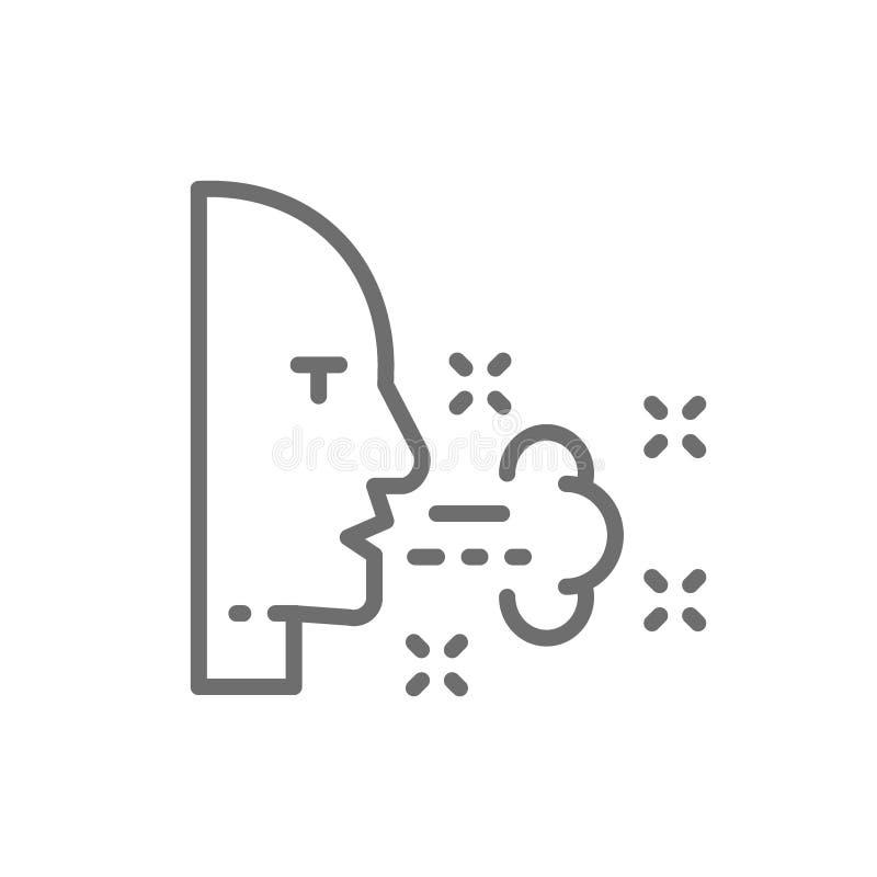 Problemas respiratorios, tos, línea icono de la alergia ilustración del vector