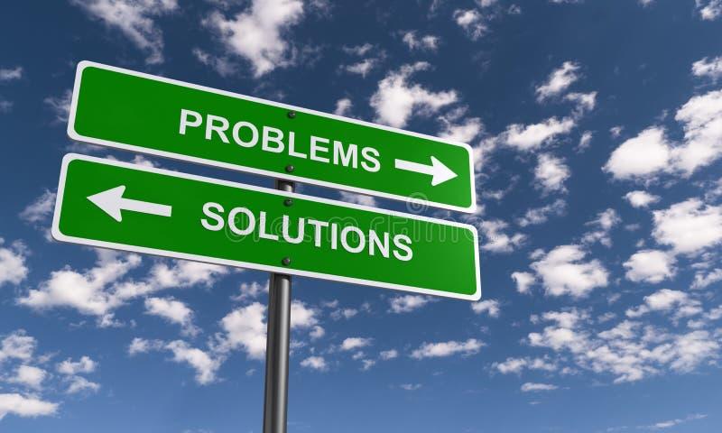 Problemas y postes indicadores de las soluciones fotografía de archivo libre de regalías