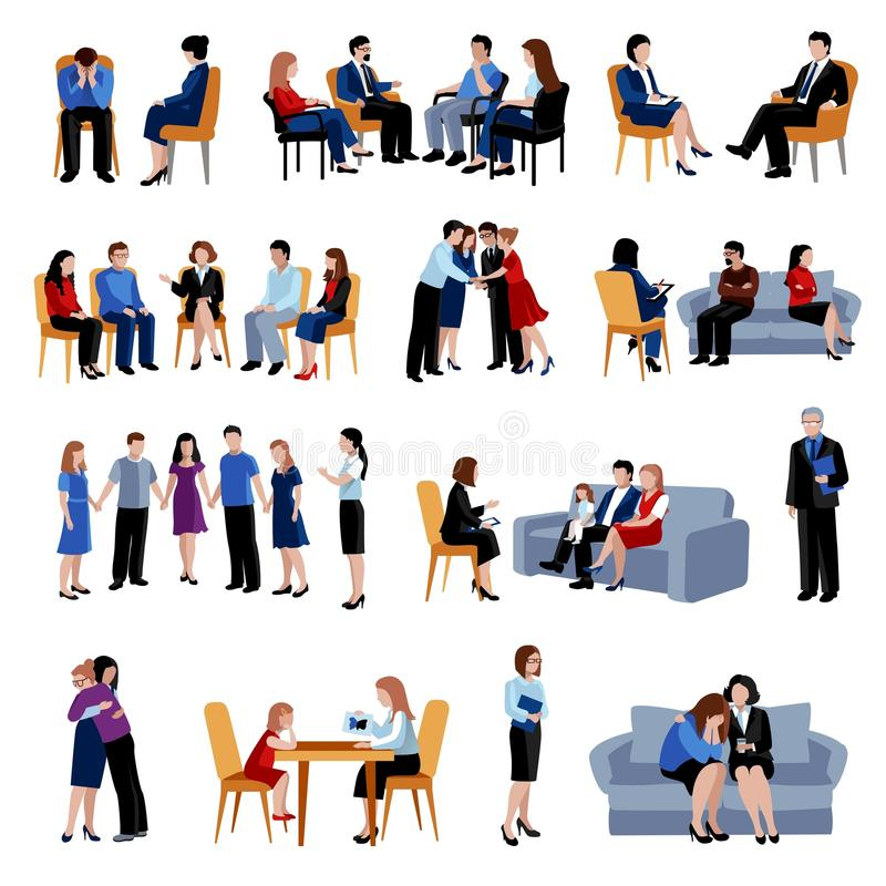 Problematic families counseling flat icons set stock illustration