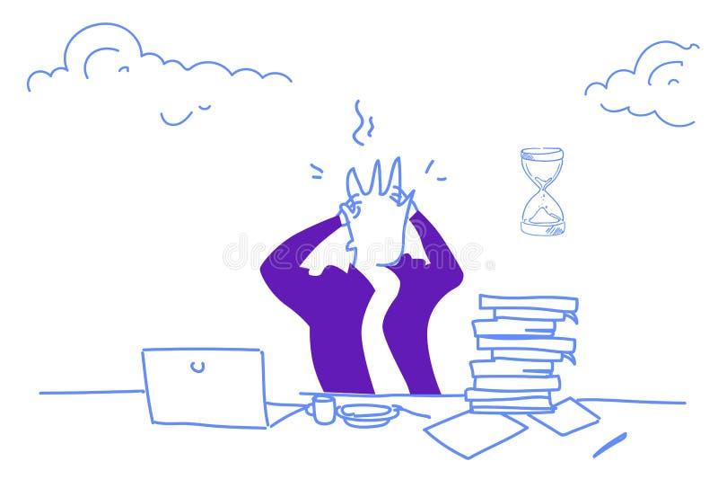 PROBLEMdruck-Konzeptmann des verwirrten Geschäftsmannes ermüdete der Arbeits, derhauptfrist hält, das überarbeitete horizontale M lizenzfreie abbildung