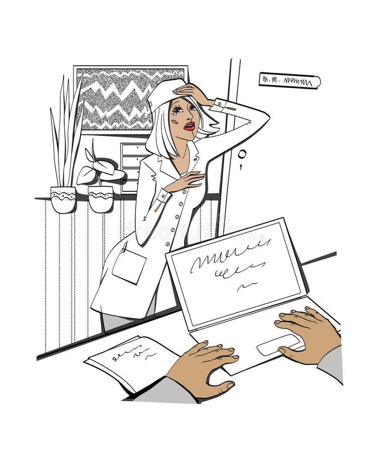Problemen en problemen Een jonge vrouw in een robe bevindt zich dichtbij het bureau van de leider en houdt haar hoofd bureau grap stock illustratie