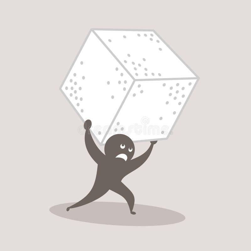 Problemen, probleem, gevaren en moeilijkheden aan suiker worden verbonden die stock illustratie