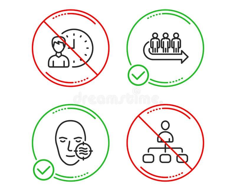 Problemhaut, Reihe und Arbeitsstundeikonensatz Management-Zeichen Vektor stock abbildung