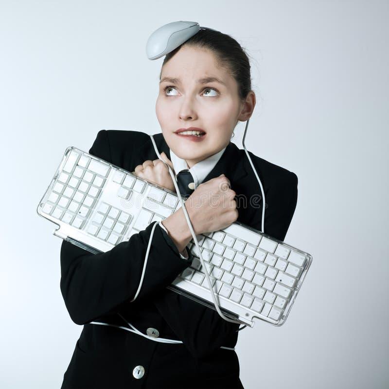 Problemi del computer della donna fotografia stock libera da diritti