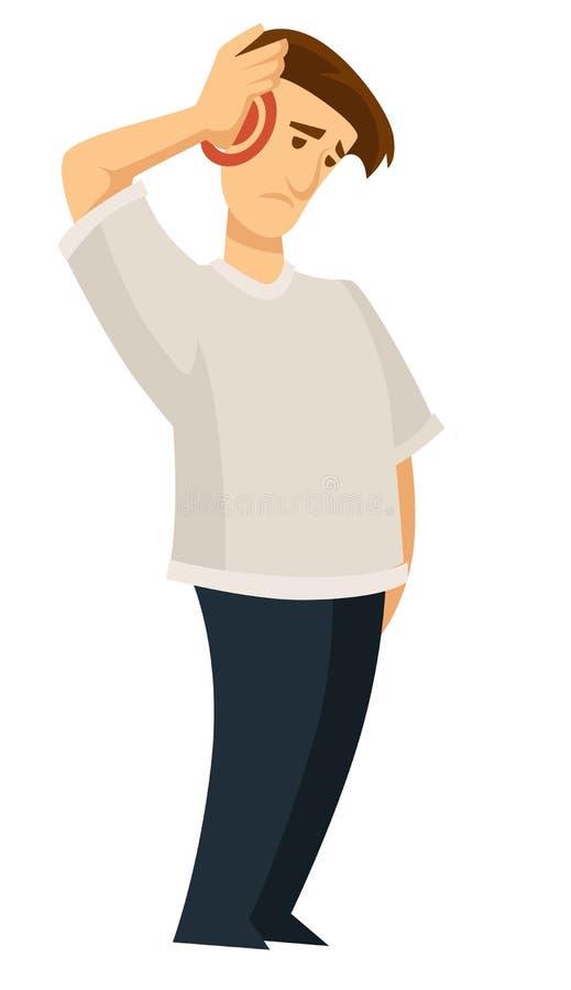 Problemi di emicrania con dolore nelle emicranie cape della persona royalty illustrazione gratis
