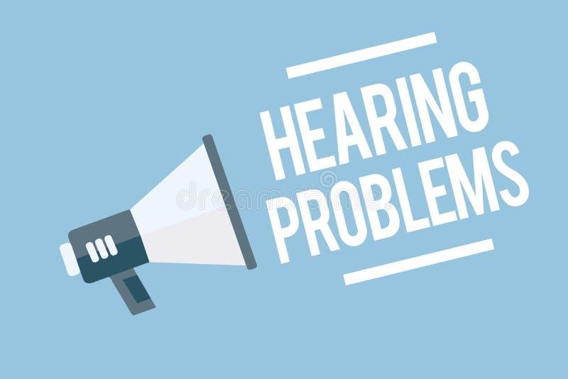 Problemi di udienza del testo di scrittura di parola Il concetto di affari per è incapacità parziale o totale di ascoltare normal royalty illustrazione gratis