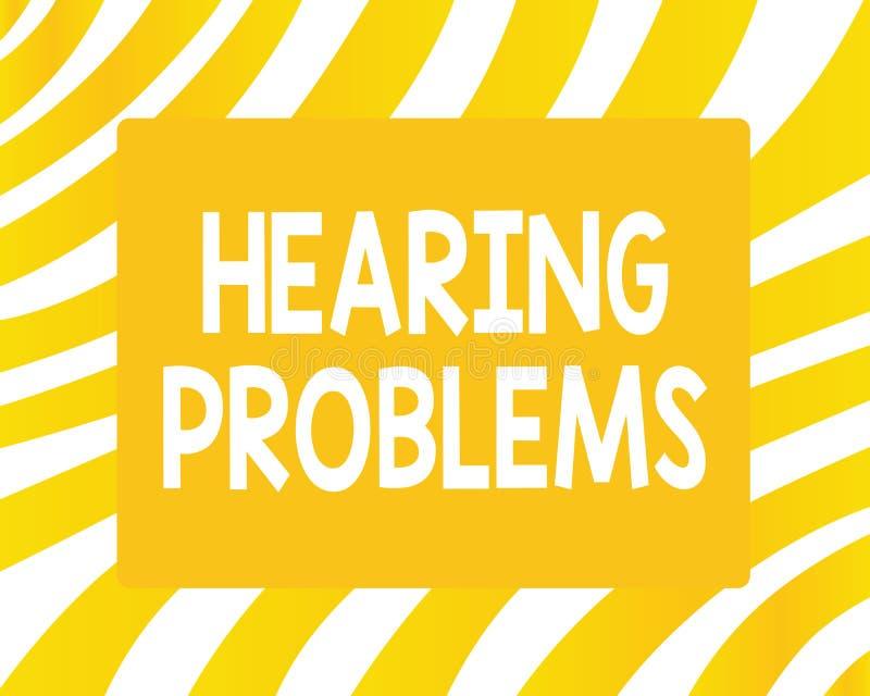 Problemi di udienza del testo di scrittura di parola Il concetto di affari per è incapacità parziale o totale di ascoltare normal illustrazione vettoriale