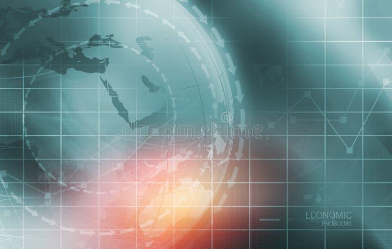 Problemi economici globali con il grafico analitico in raggiro del fondo illustrazione vettoriale