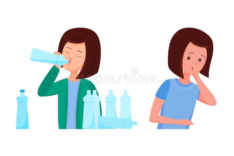 Problemi sanitari, virus di Zika La ragazza ritiene la nausea, sete dell'acqua illustrazione vettoriale