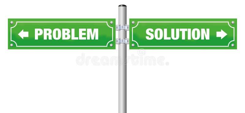 Problemowa rozwiązanie znaka ulicznego zieleń ilustracja wektor