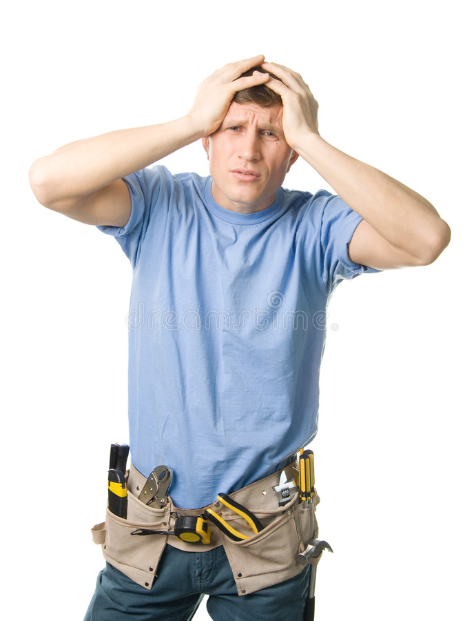 Problems. Carpenter experiencing some problems, isolated on white royalty free stock photos