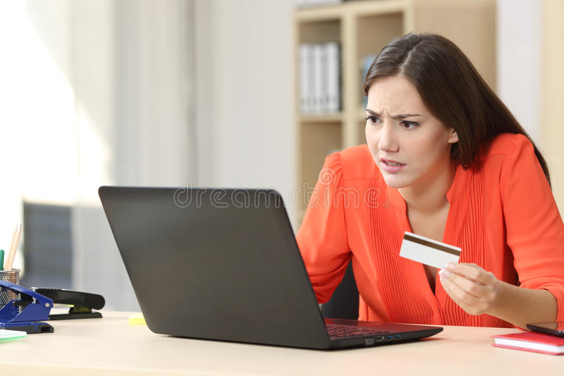 Problems buying online with credit card royalty free stock photo