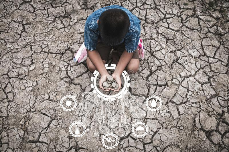 Problems that cause drought, lack of water, dry soil, cracked soil, Concept drought and crisis environment royalty free stock photography