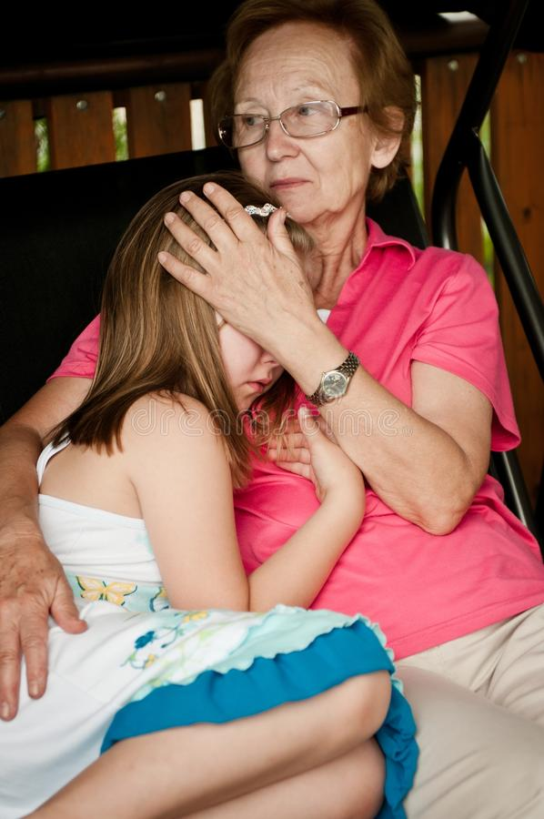 Download Problems - Comforting Child Stock Image - Image of grief, gramdmother: 23964231