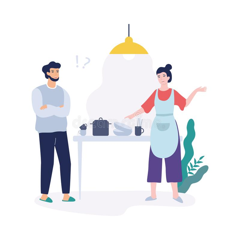 Problems in family. Angry woman pointing at dirty dishes. Quarrel and divorce concept. Conflict between mother and father. Isolated vector illustration in flat royalty free illustration