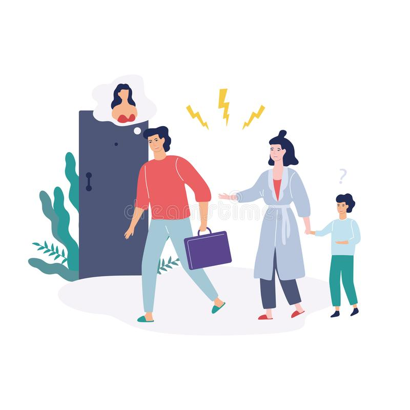 Problems in family. Father shouting at mother. Problems in family. Father and mother, quarrel and divorce concept. Unhappy child crying. Conflict between mother vector illustration