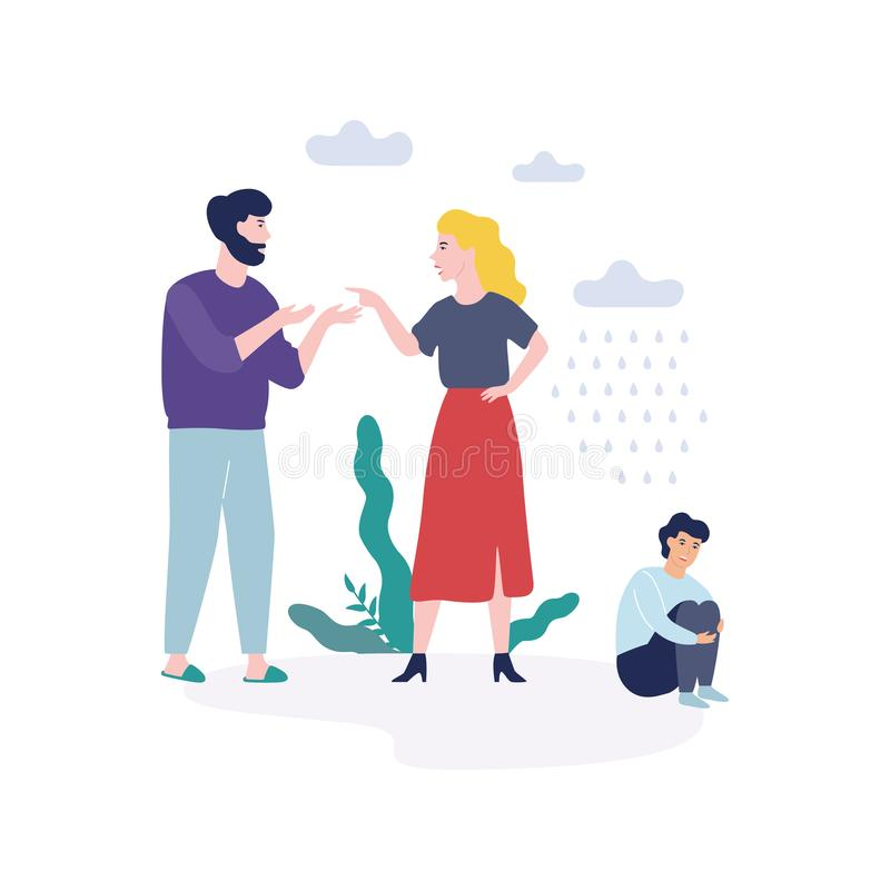 Problems in family. Father shouting at mother. Quarrel and divorce concept. Unhappy child crying. Conflict between mother and father. Isolated vector vector illustration