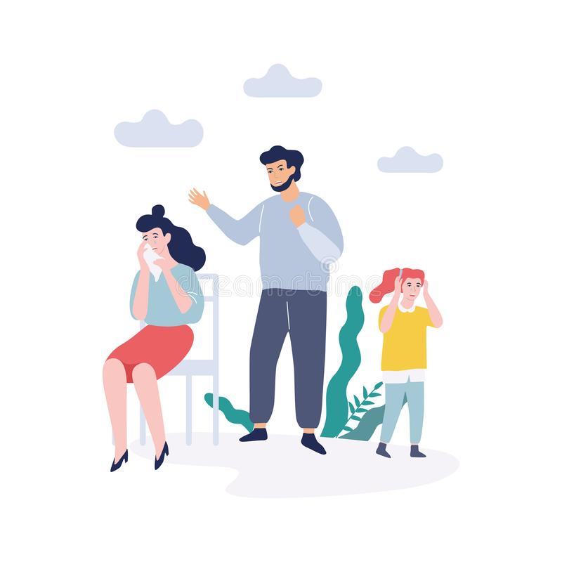 Problems in family. Father shouting at mother. Quarrel and divorce concept. Unhappy child crying. Conflict between mother and father. Isolated vector royalty free illustration