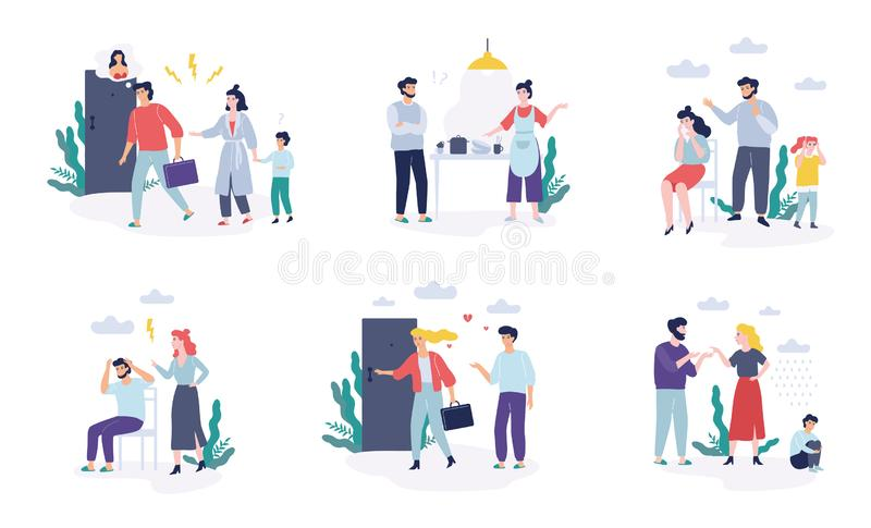 Problems in family set. Father and mother quarrel. Divorce concept. Unhappy child crying. Conflict between mother and father. Isolated vector illustration in vector illustration