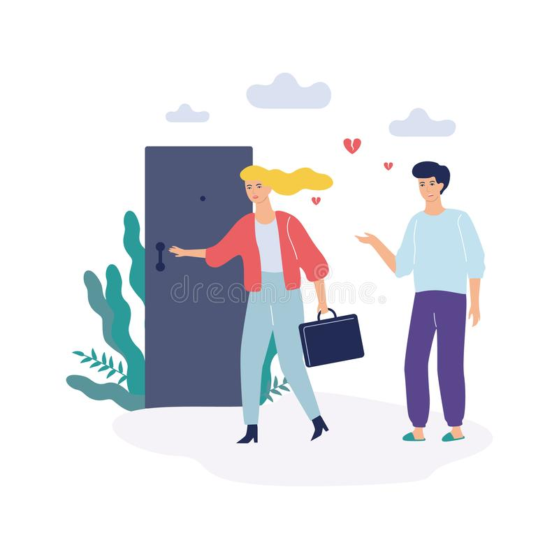 Problems in family. Woman and man, quarrel and divorce. Concept. Conflict between mother and father. Isolated vector illustration in flat style vector illustration